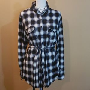 Belted Flannel Shirt Sz M